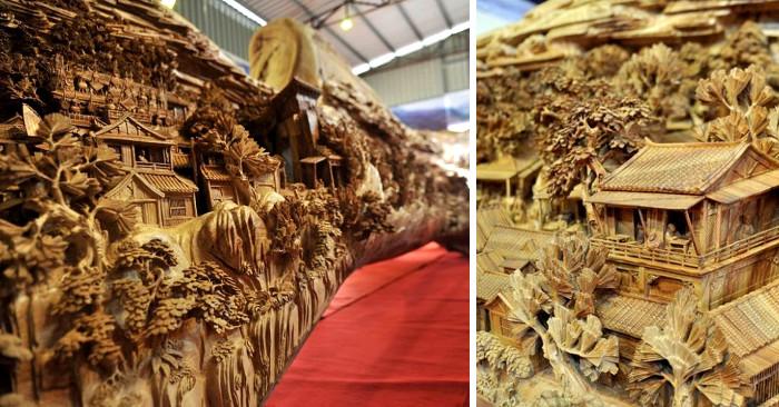 La scultura di legno più lunga del mondo, fatta da un unico albero