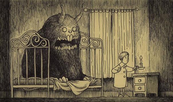 disegni-horror-mostri-incubi-infanzia-post-it