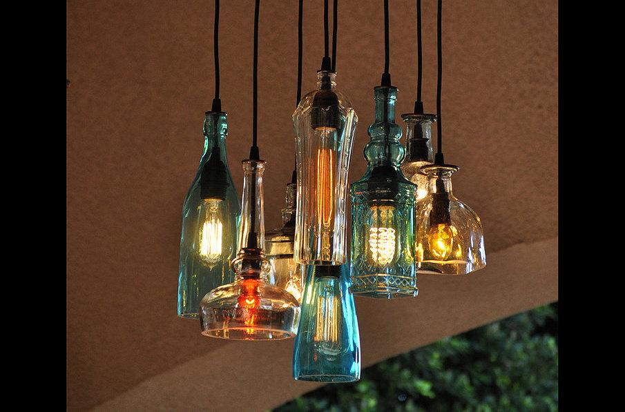 Lampadari, appliques e lampade in stile industriale creati con bottiglie riciclate - KEBLOG