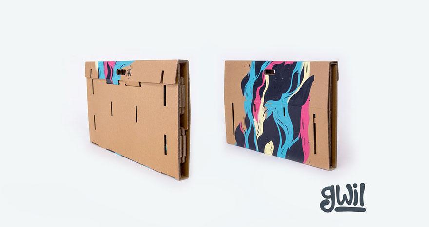 Una scrivania di cartone portatile riciclabile e for Arredamenti in cartone shop on line