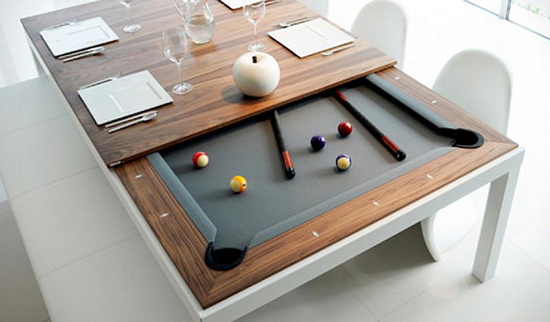 Tavolo Biliardo Richiudibile.Un Tavolo Da Pranzo Che Diventa Tavolo Da Biliardo In Un