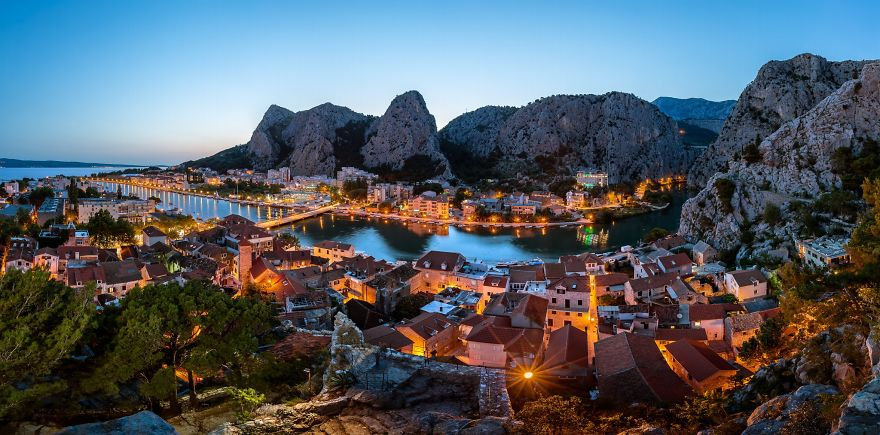 Aerial Panorama of Omis and Cetina River Gorge in the Evening, D