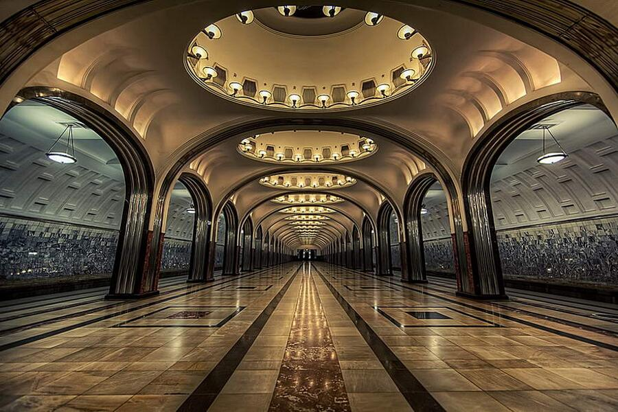 Stazioni di Kievskaya, Mayakovskaya e del Parco Pobedy, Mosca, Russia