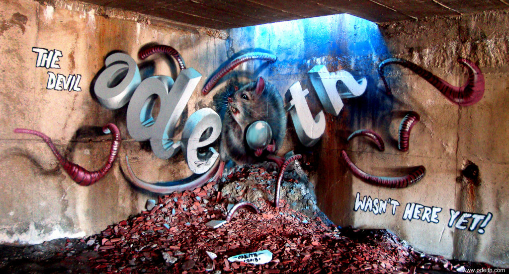 Odeith-Anamorphic-3D-Graffiti-Letters-combined-rat-worms-dark-place-Vila-franca-de-xira-Portugal