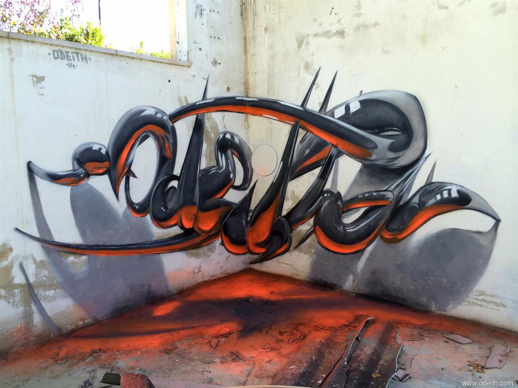 Odeith-Anamorphic-3D-Graffiti-Letters-reflected-tubes-orange-fluor-light
