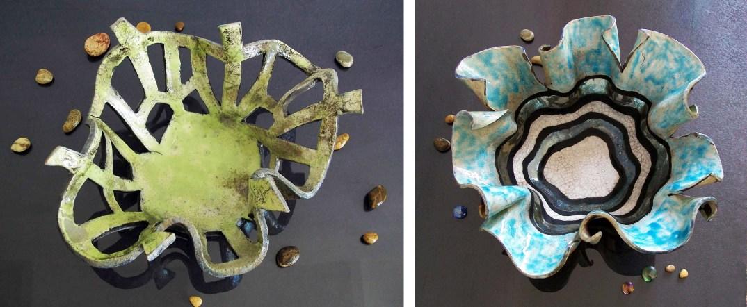fruttiera medusa corallo raku