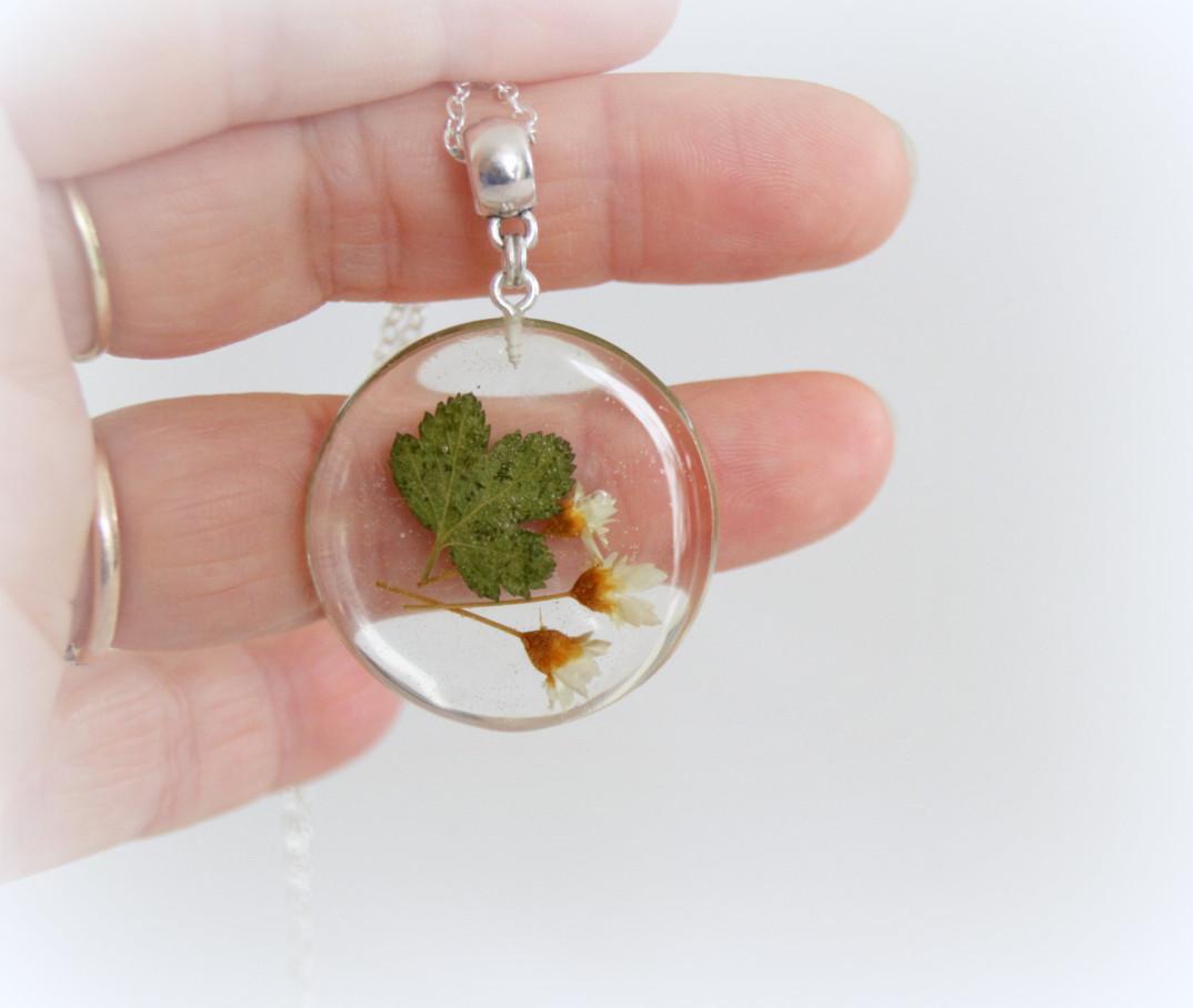 Popolare gioielli-collane-ciondoli-fiori-piante-foglie-petali-resina-15  PT72