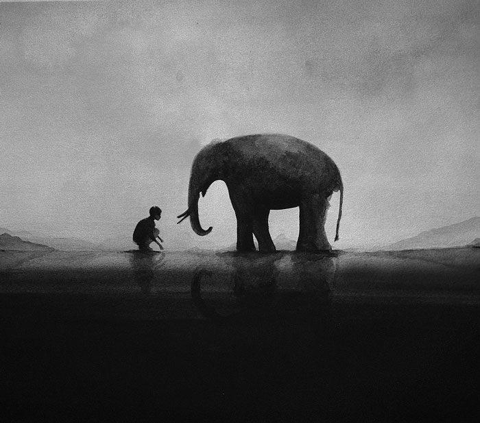 acquerelli-bianco-e-nero-bambini-animali-elicia-elidanto-5