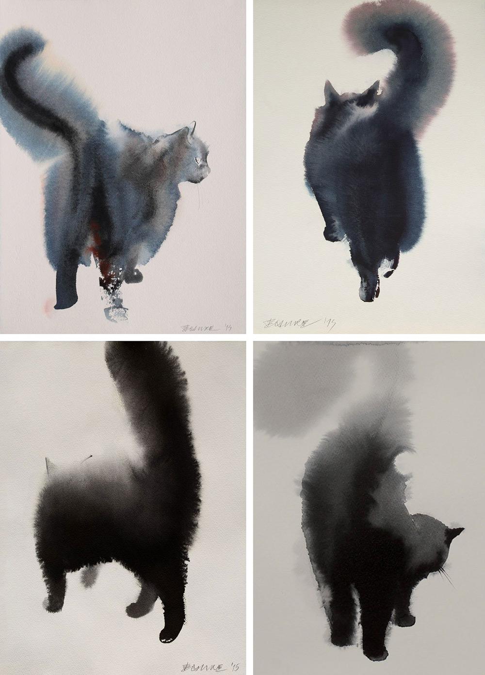 acquerelli-gatti-neri-endre-penovac-3