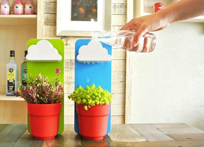 Delle simpatiche nuvolette innaffiano le piccole piante di for Parete acqua