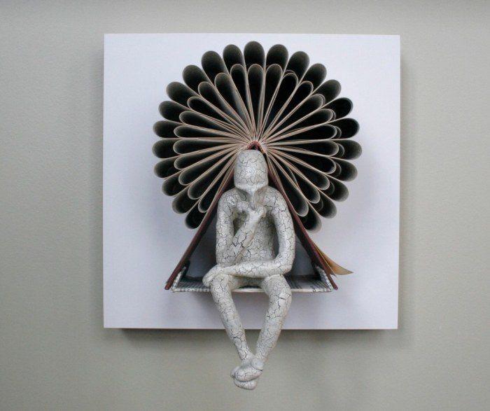 sculture-carta-pagine-libri-pensatore-Kenjio-05