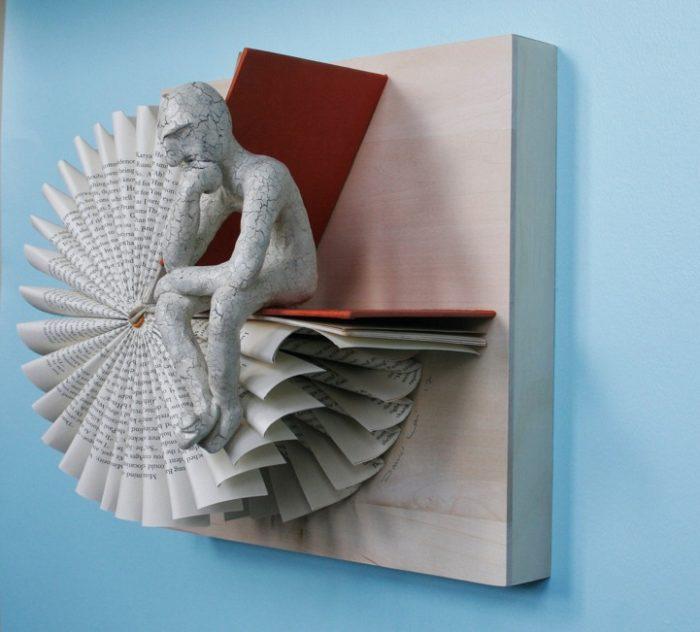 sculture-carta-pagine-libri-pensatore-Kenjio-07