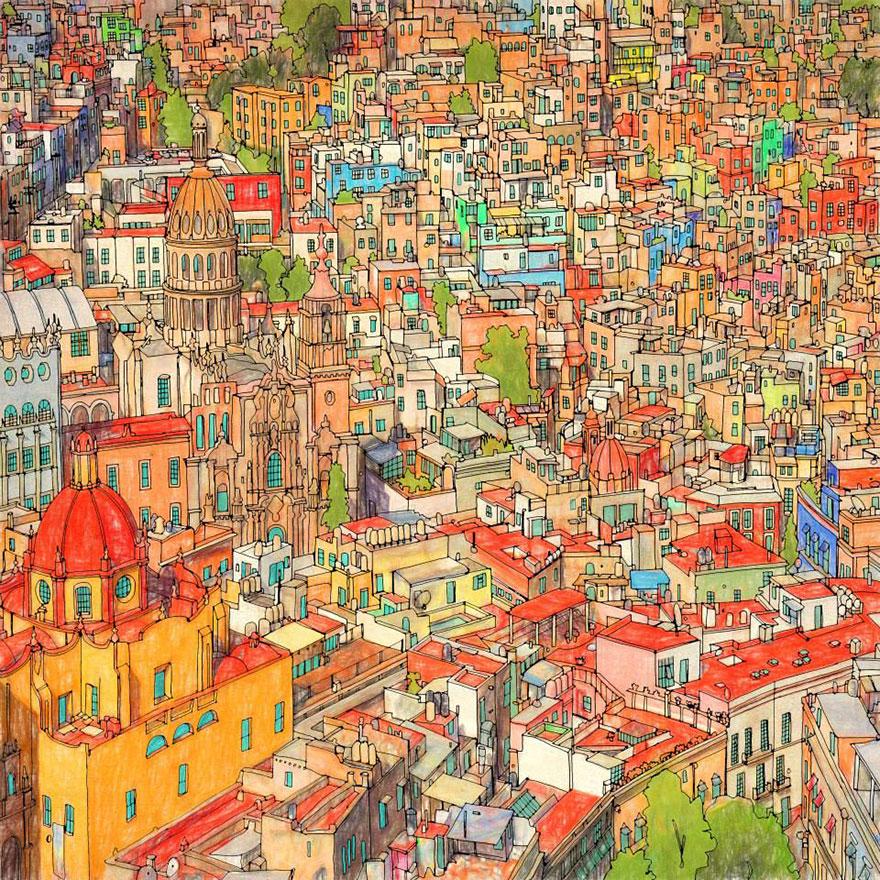 Disegni da colorare per adulti citt mondo 02 keblog for Disegni da colorare per adulti paesaggi