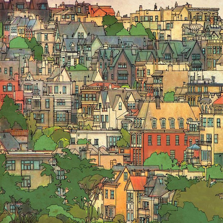 Libro Da Colorare Per Adulti Fantastic Cities Chronicle Books
