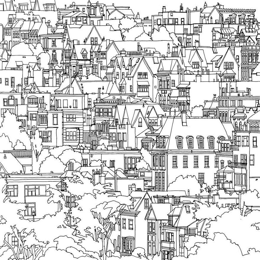 Dettagliati Disegni Da Colorare Per Adulti Con Le Principali Città