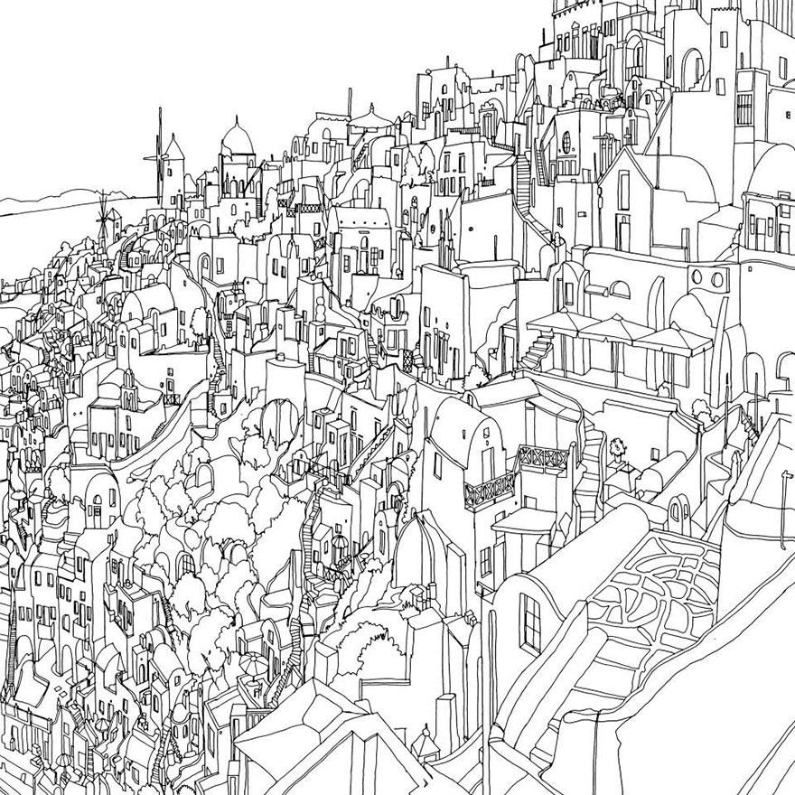 Advanced Landscape Coloring Pages : Dettagliati disegni da colorare per adulti con le