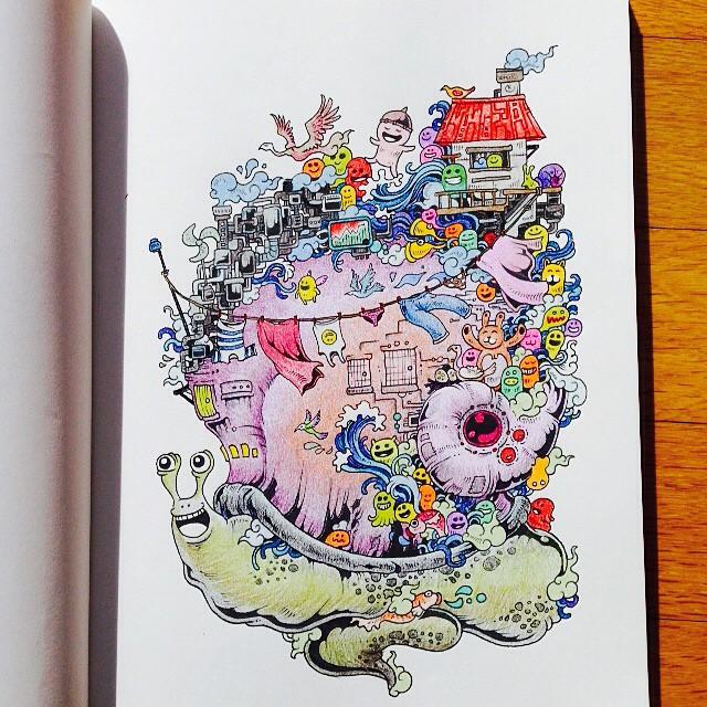 Doodle invasion gli straordinari disegni da colorare per for Disegni da colorare per adulti paesaggi