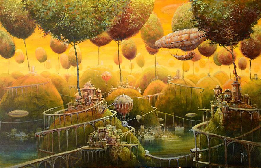 Favoloso pittura-surreale-contemporanea-olio-su-tela-Modestas-Malinauskas  NY71