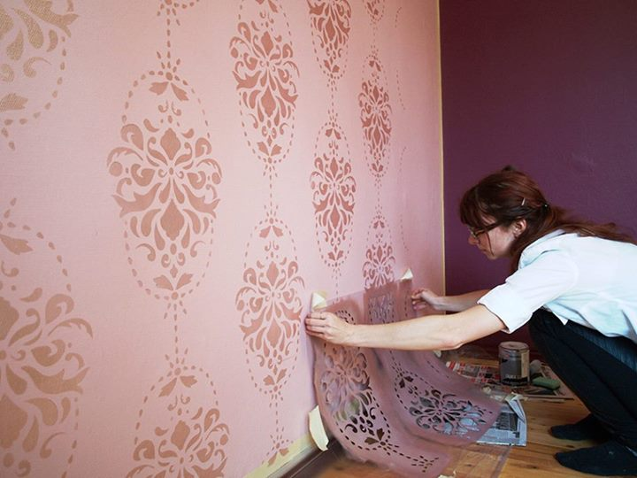 Wall stencil sticker parete muro casa decorazione rullo 05 for Stencil per pareti
