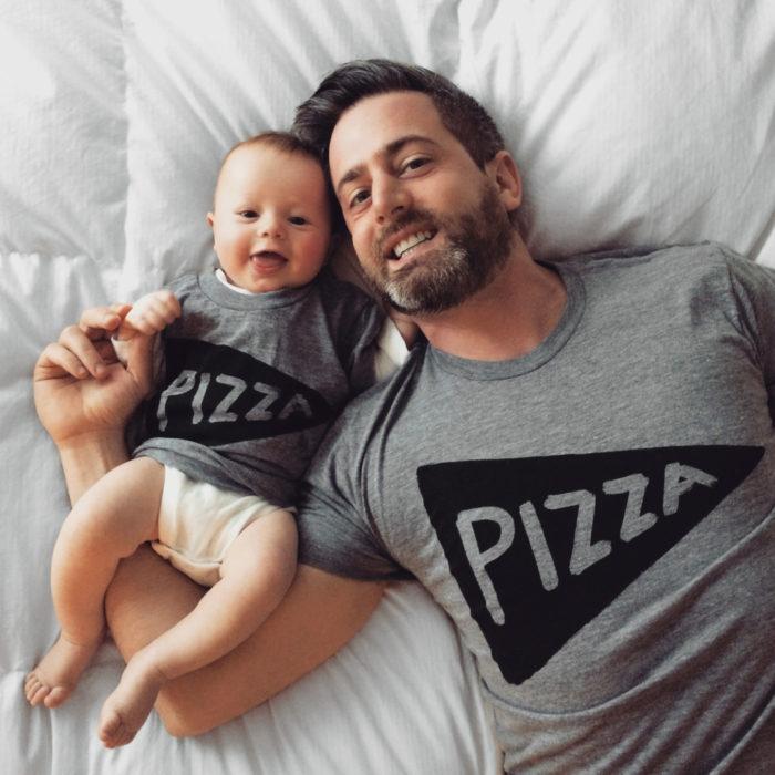 Abbigliamento coordinato padre e figlio vestiti uguali, magliette e body