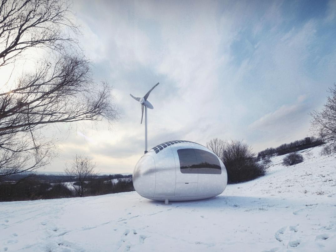 Una minuscola casa ad energia solare ed eolica permette di for Piani di cabina solare