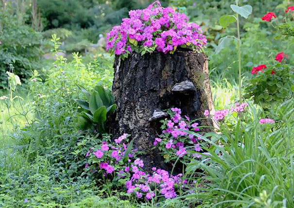Fioriere giardino tronco albero 04 keblog for Idee per creare un giardino
