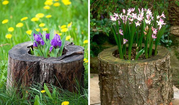 Fioriere giardino tronco albero 05 keblog - Idee per creare un giardino ...