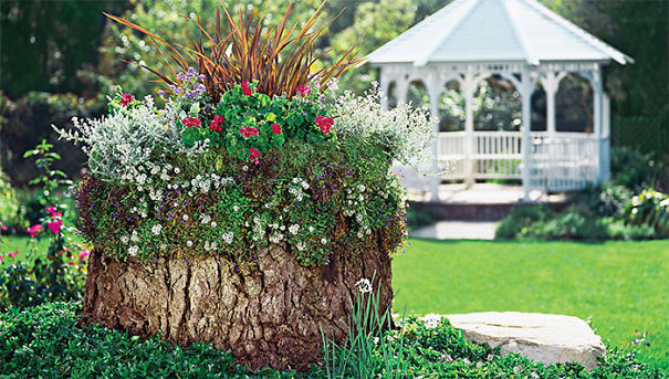 25 idee per creare una fioriera da un tronco d 39 albero for Idee fioriere giardino