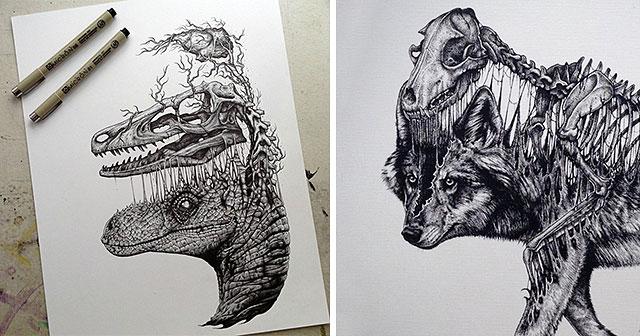 disegni-teschi-scheletri-bianco-e-nero-raccapriccianti-paul-jackson-01