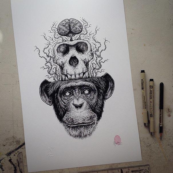 disegni-teschi-scheletri-bianco-e-nero-raccapriccianti-paul-jackson-16