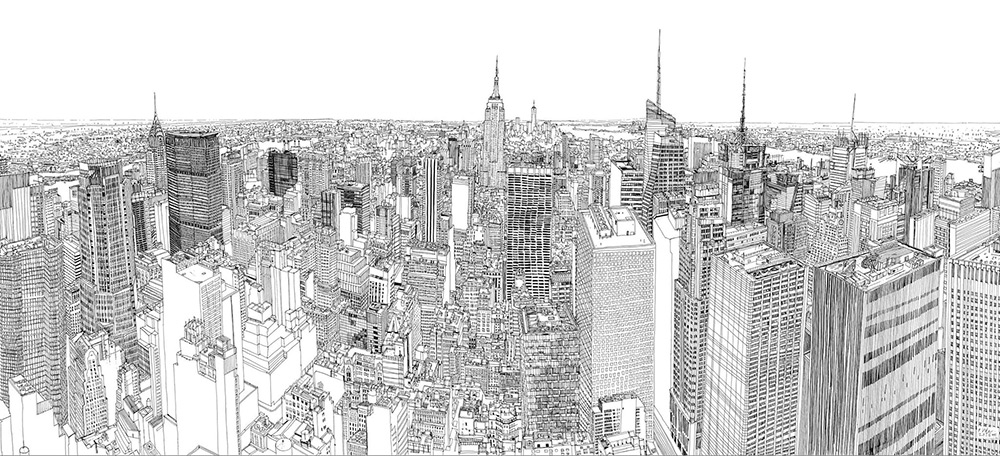 Video timelapse dell 39 illustratore patrick vale che esegue for Disegni new york