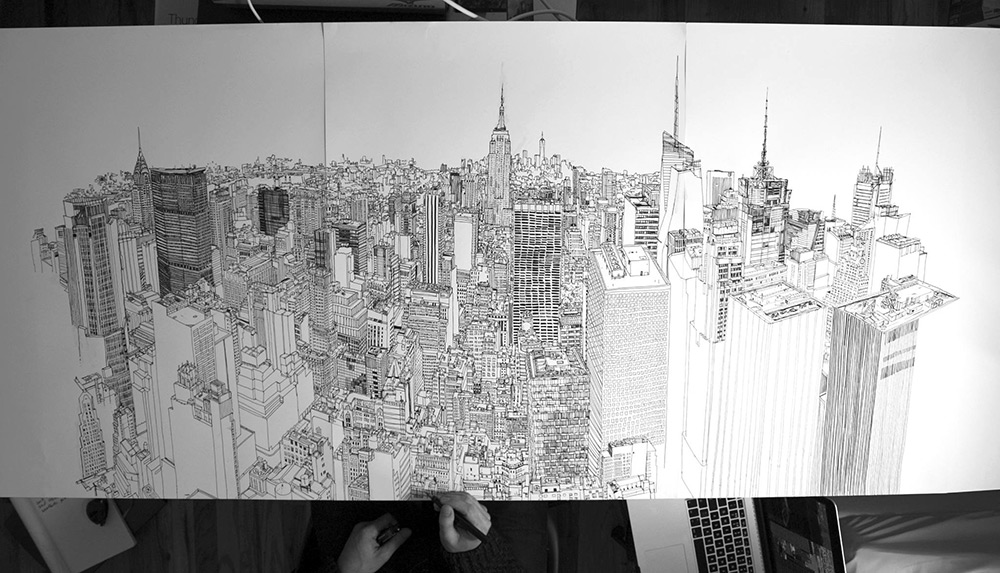 video-timelapse-disegno-a-mano-penna-inchiostro-skyline-new-york-patrick-vale-2