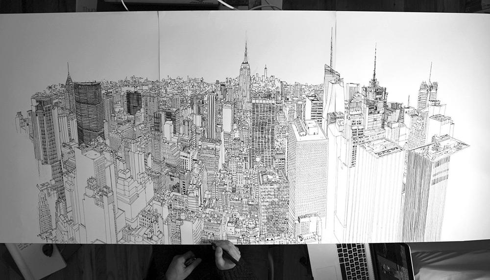 video-timelapse-disegno-a-mano-penna-inchiostro-skyline-new-york-patrick-vale-2