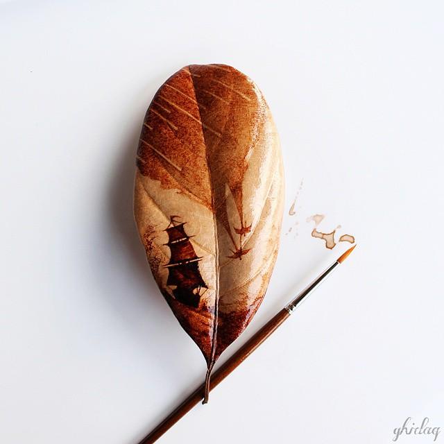 pittura-caffè-foglie-secche-acquerelli-al-nizar-01