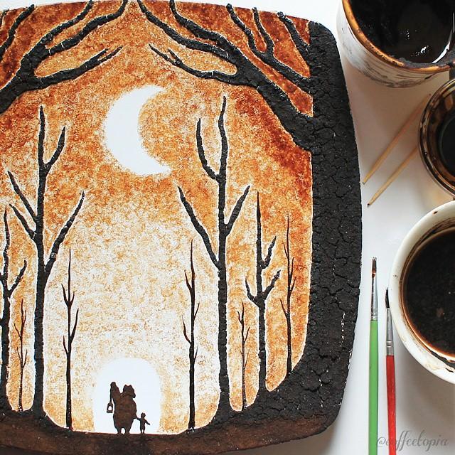 pittura-caffè-foglie-secche-acquerelli-al-nizar-08