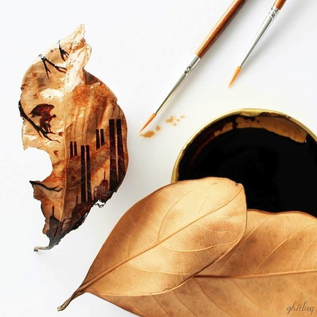 pittura-caffè-foglie-secche-acquerelli-al-nizar-09