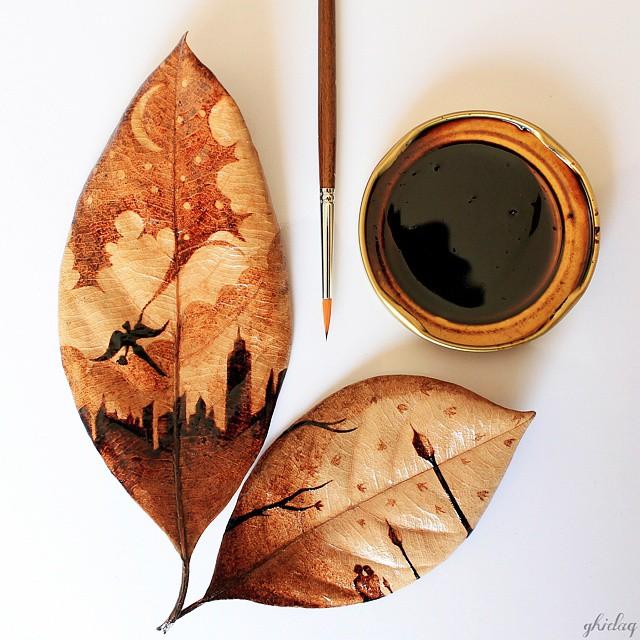 pittura-caffè-foglie-secche-acquerelli-al-nizar-10
