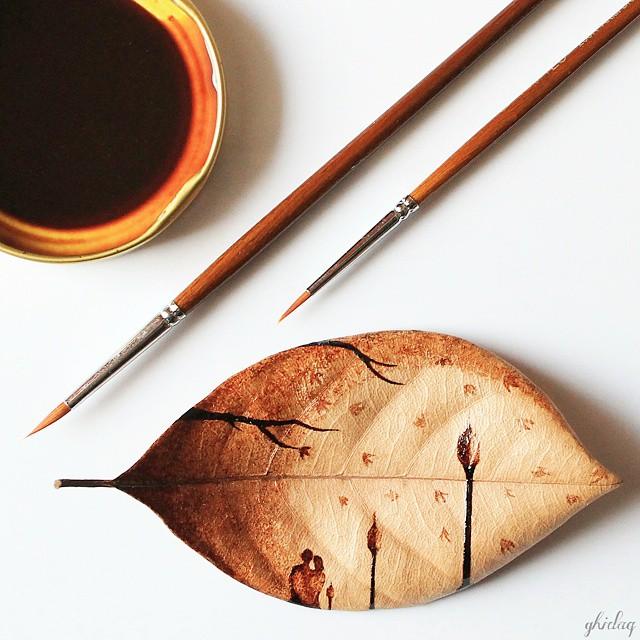 pittura-caffè-foglie-secche-acquerelli-al-nizar-11