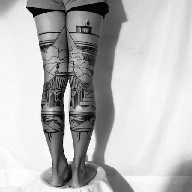 tatuaggi-artistici-dietro-le-gambe-dittici-paesaggi-architetture-thieves-of-tower-01