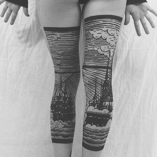 tatuaggi-artistici-dietro-le-gambe-dittici-paesaggi-architetture-thieves-of-tower-06