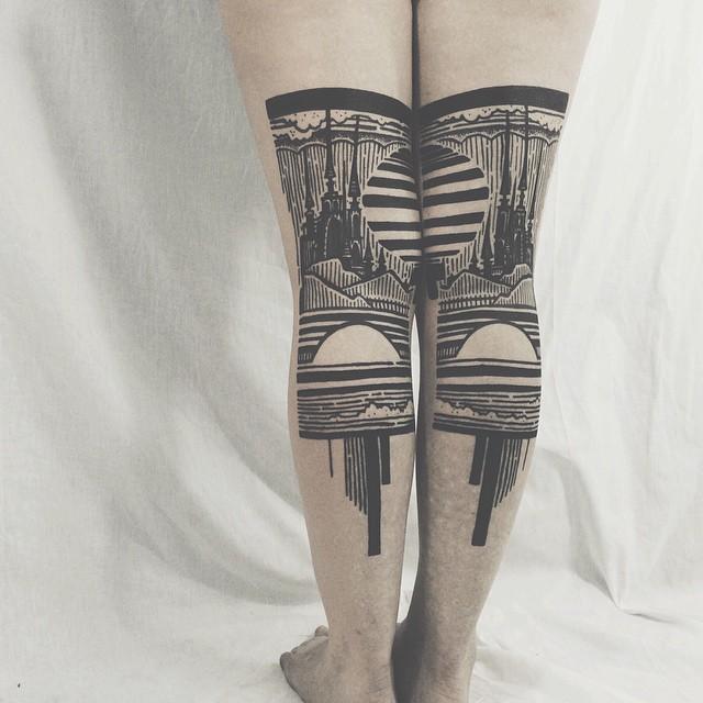 tatuaggi-artistici-dietro-le-gambe-dittici-paesaggi-architetture-thieves-of-tower-08
