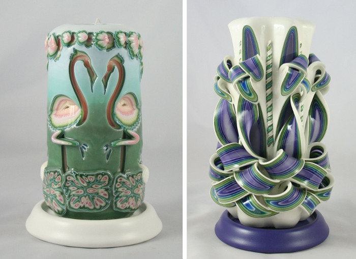 Candele decorative artigianali in cera multistrato incisa - Candele decorative ikea ...