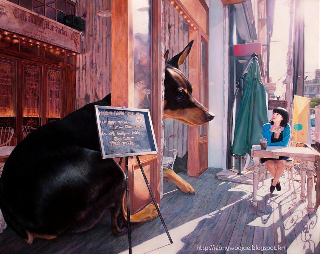 dipinti-iperrealisti-ragazza-cane-gigante-arte-jeong-woojae-01