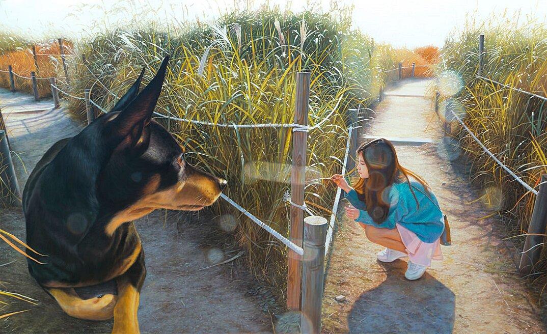 dipinti-iperrealisti-ragazza-cane-gigante-arte-jeong-woojae-02