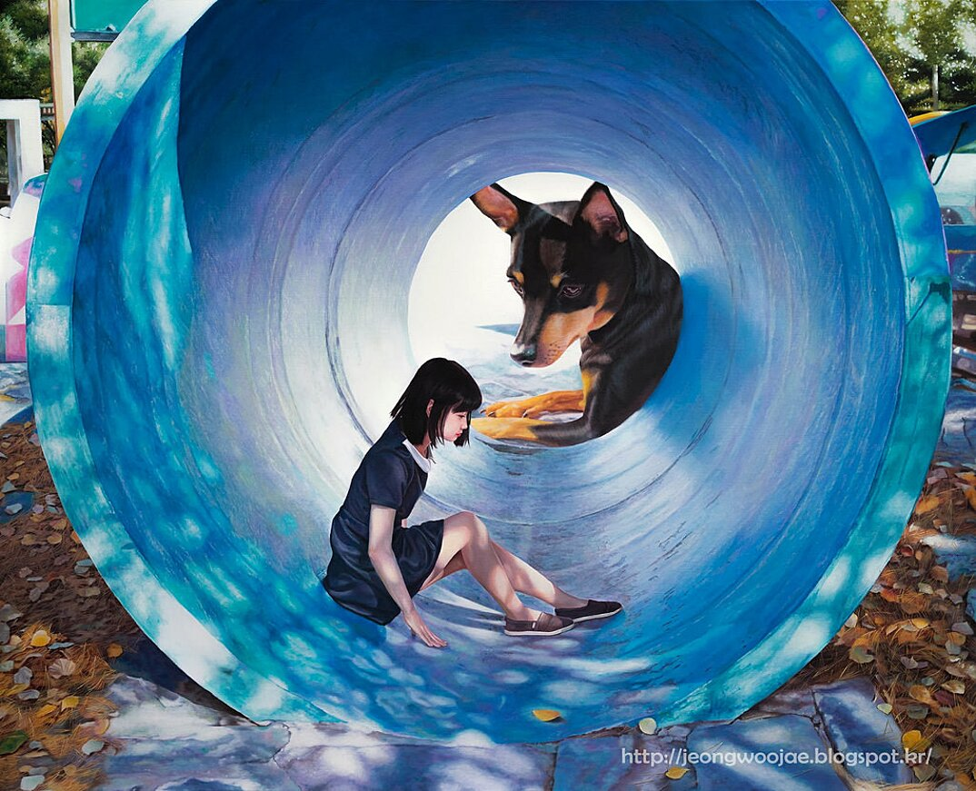 dipinti-iperrealisti-ragazza-cane-gigante-arte-jeong-woojae-03
