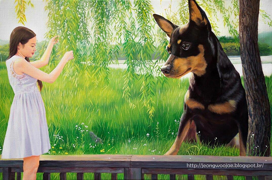dipinti-iperrealisti-ragazza-cane-gigante-arte-jeong-woojae-05