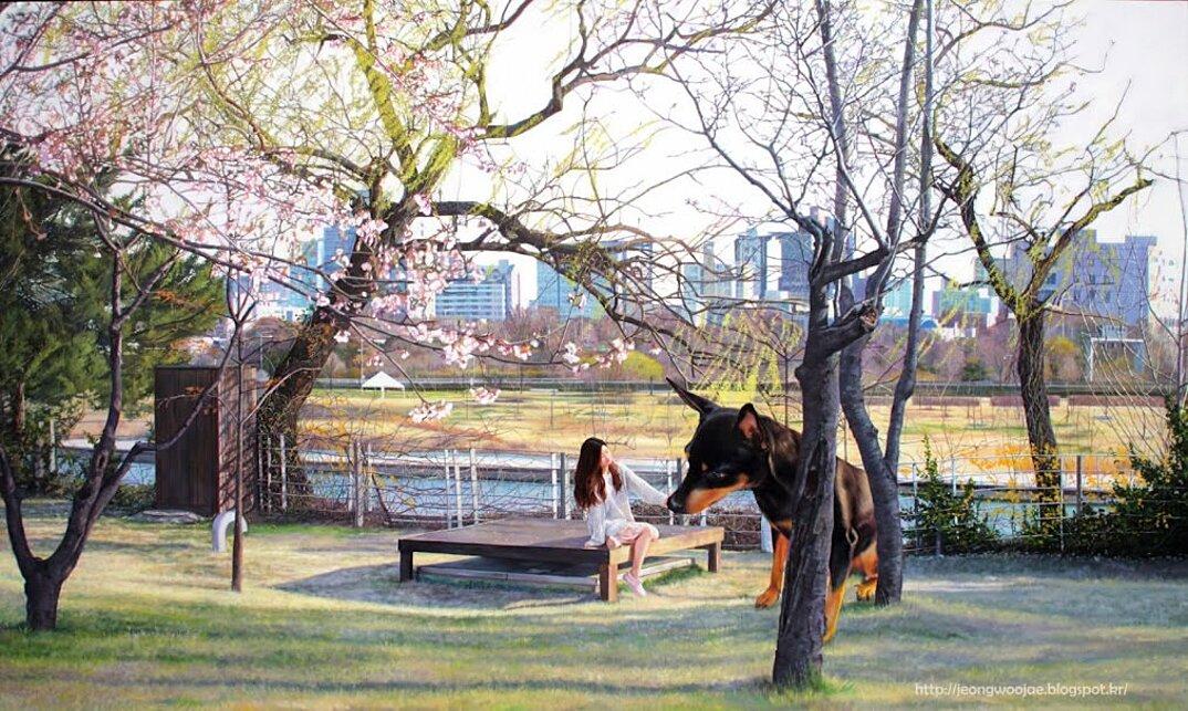 dipinti-iperrealisti-ragazza-cane-gigante-arte-jeong-woojae-06