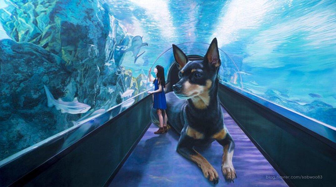 dipinti-iperrealisti-ragazza-cane-gigante-arte-jeong-woojae-07