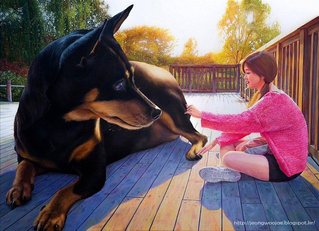 dipinti-iperrealisti-ragazza-cane-gigante-arte-jeong-woojae-08