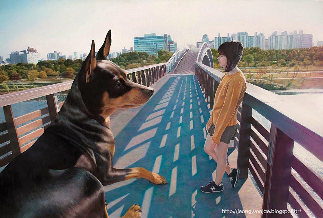 dipinti-iperrealisti-ragazza-cane-gigante-arte-jeong-woojae-09